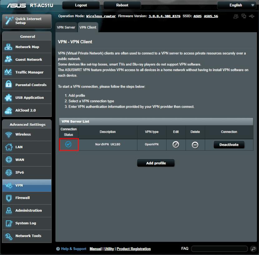 ASUS VPN blauer Status