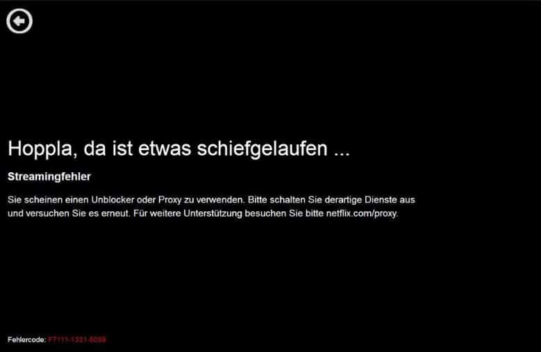 Netflix Geoblocking Fehlermeldung