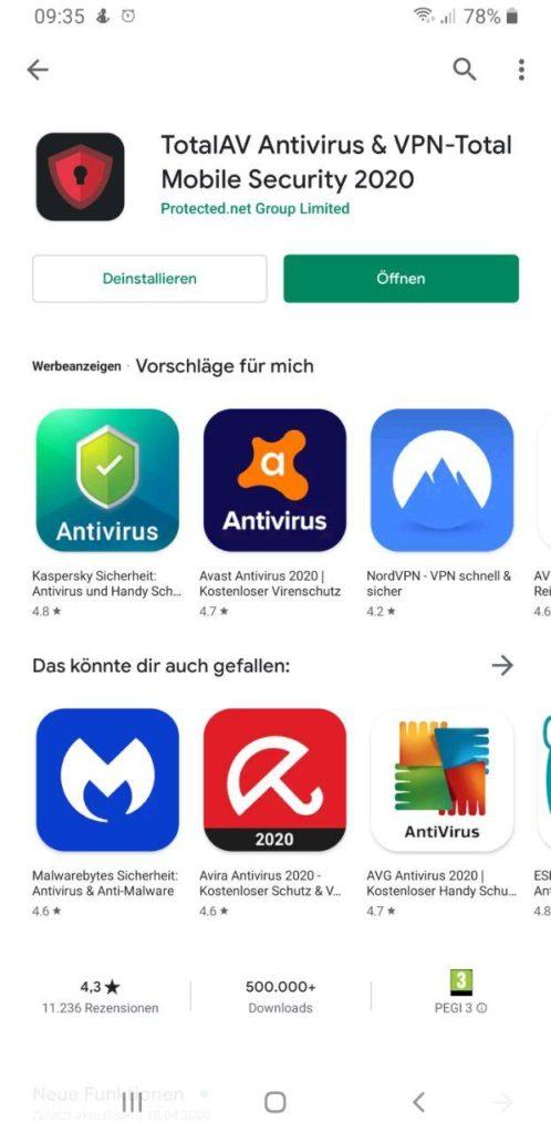 Virenscanner für Android TotalAV öffnen