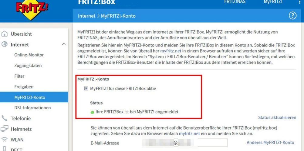 MyFRITZ! Anmeldung