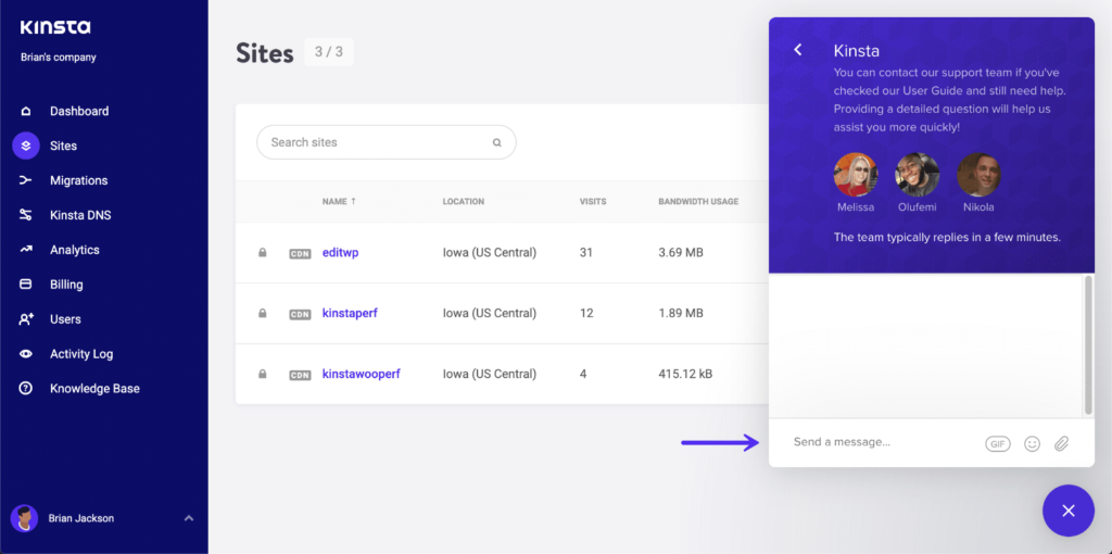 LiveChat Support - Kinsta