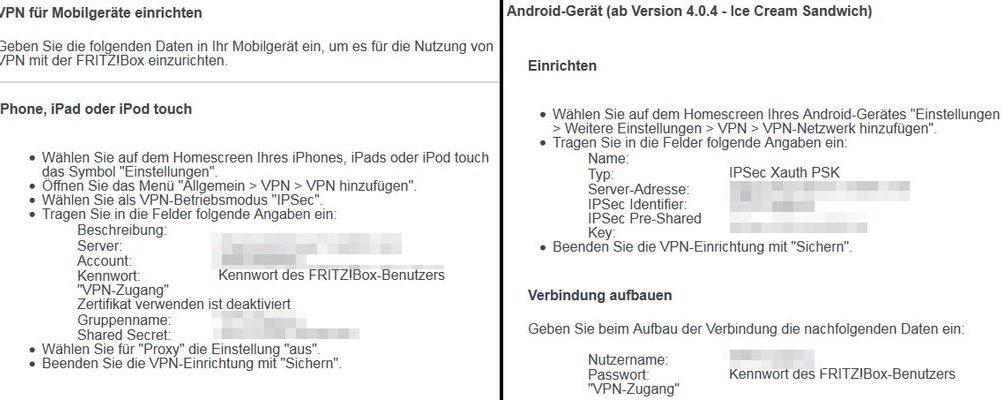 FRITZ!Box Daten, die du zum Einrichten auf deinem Mobilgerät benötigst