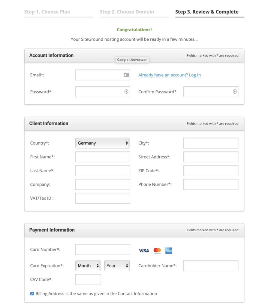 Konto Erstellen bei Siteground