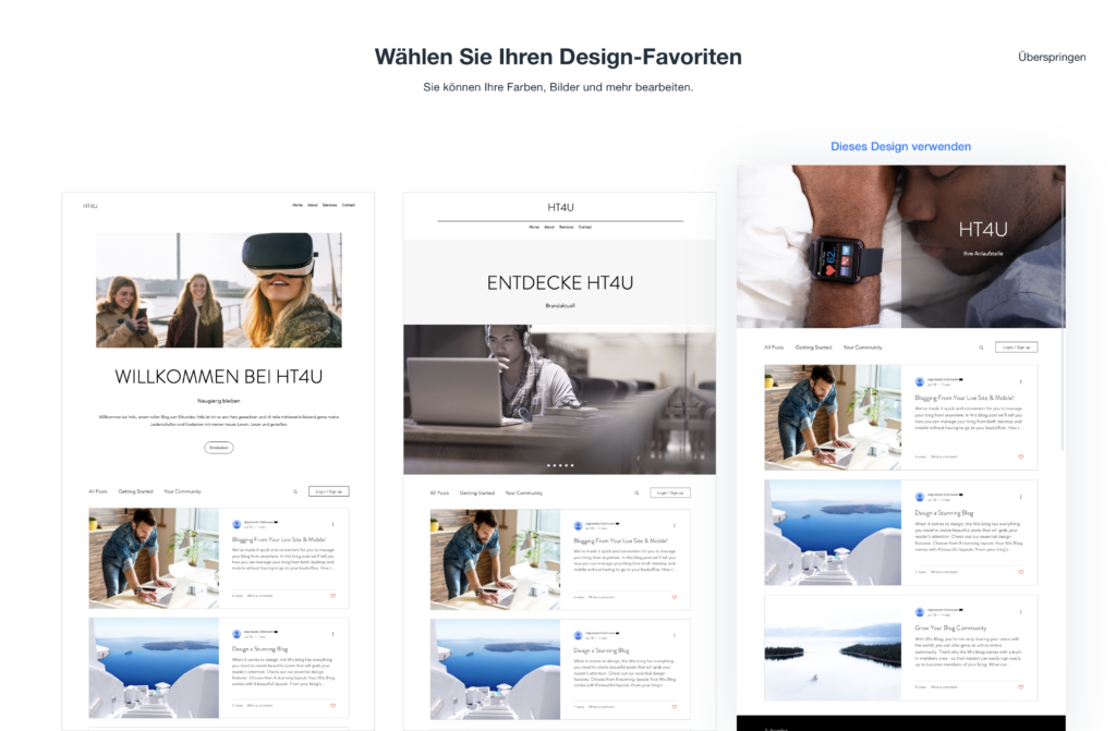 Design Favoriten Wix