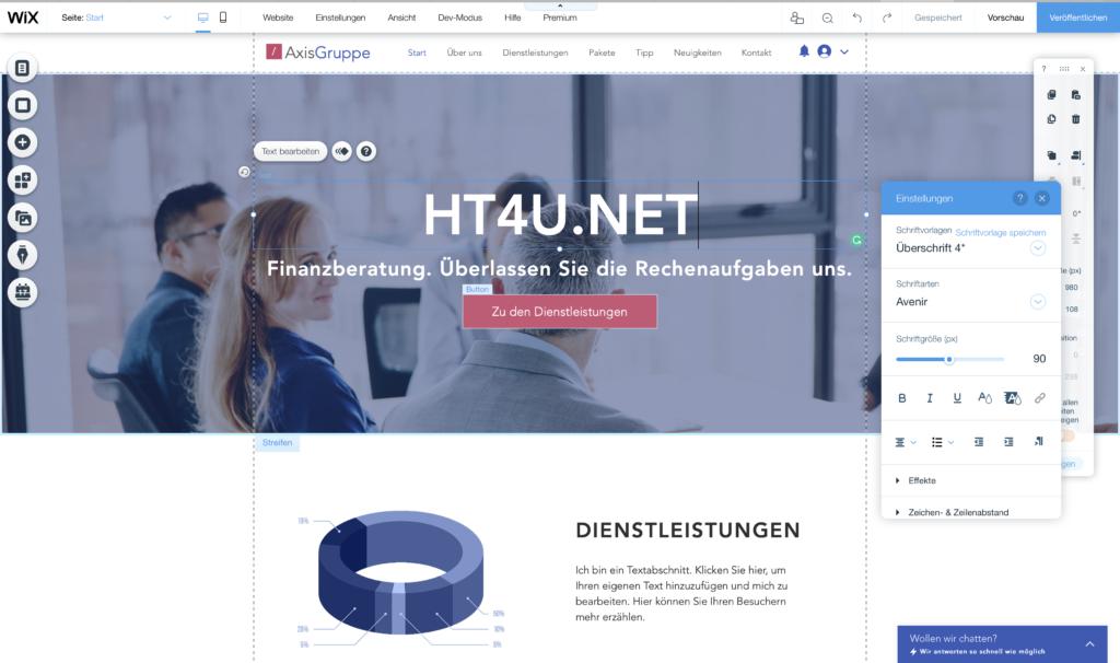 Webseite bearbeiten - Wix