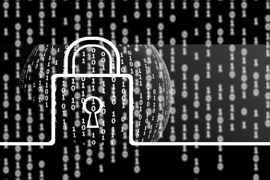 Verschlüsselungssoftware - Schloss und binäre Zahlen
