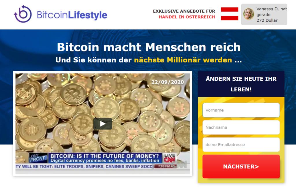 Bitcoin Lifestyle Webseite