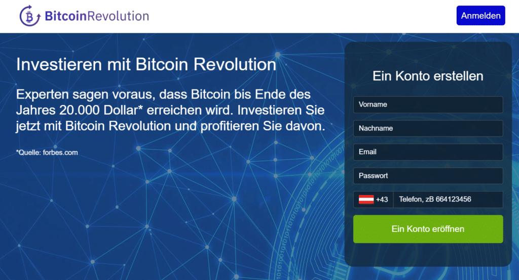 Bitcoin Revolution Webseite