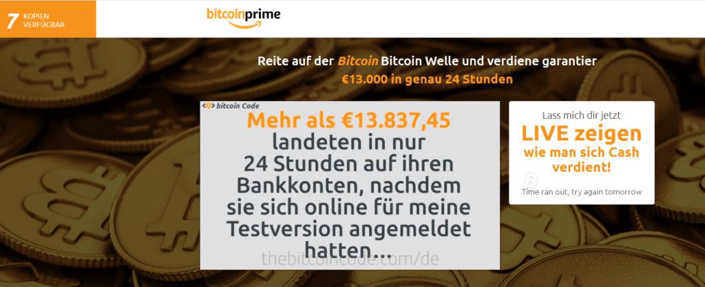 Bitcoin Prime Webseite
