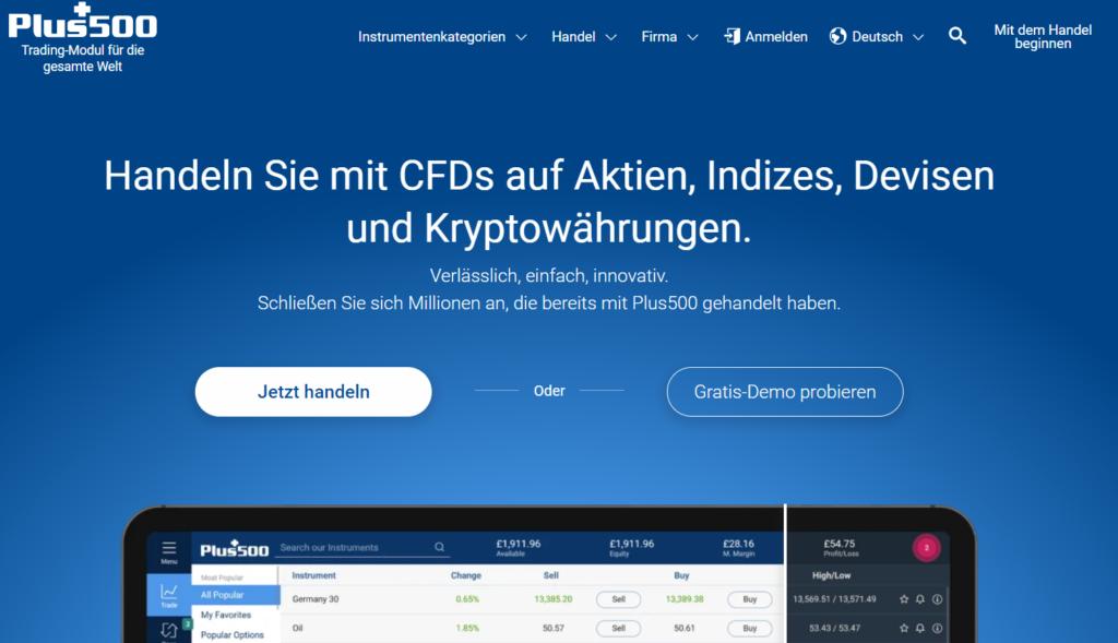 Pluss500 Webseite