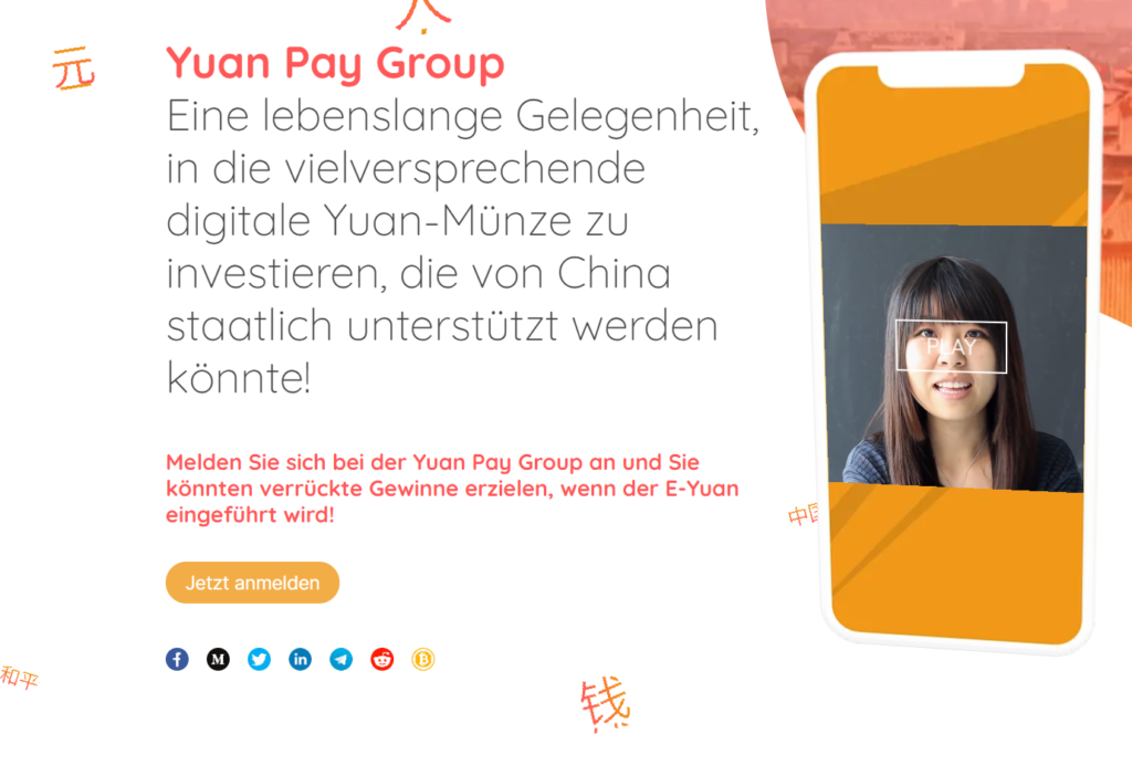 Yuan Pay Group Webseite